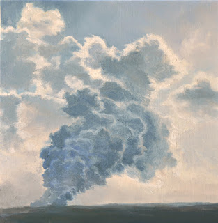 Katherine Kean, Vent, original oil painting, Hawaii,  volcano art, steam clouds, blue, atmospheric, contemporary, small