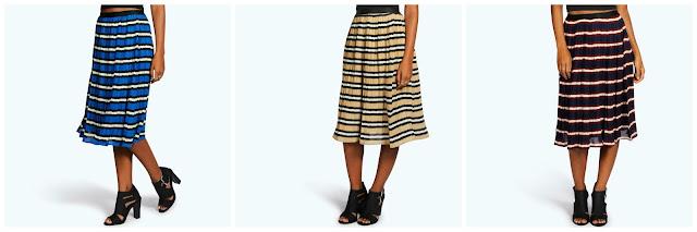 Boohoo Pleated Striped Midi Skirts