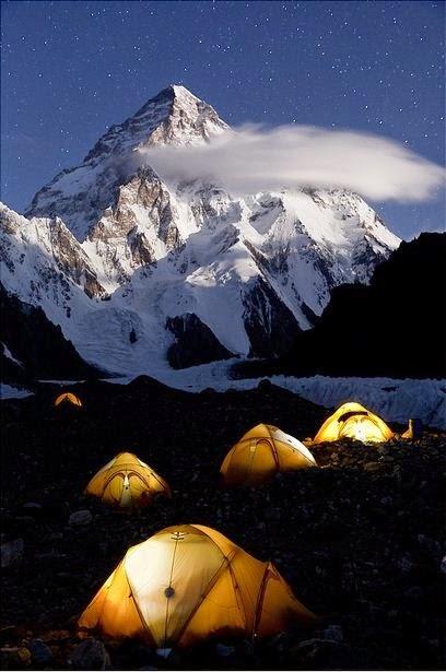 K2 Base Camp in the night, Karakorum Mountains, Pakistan