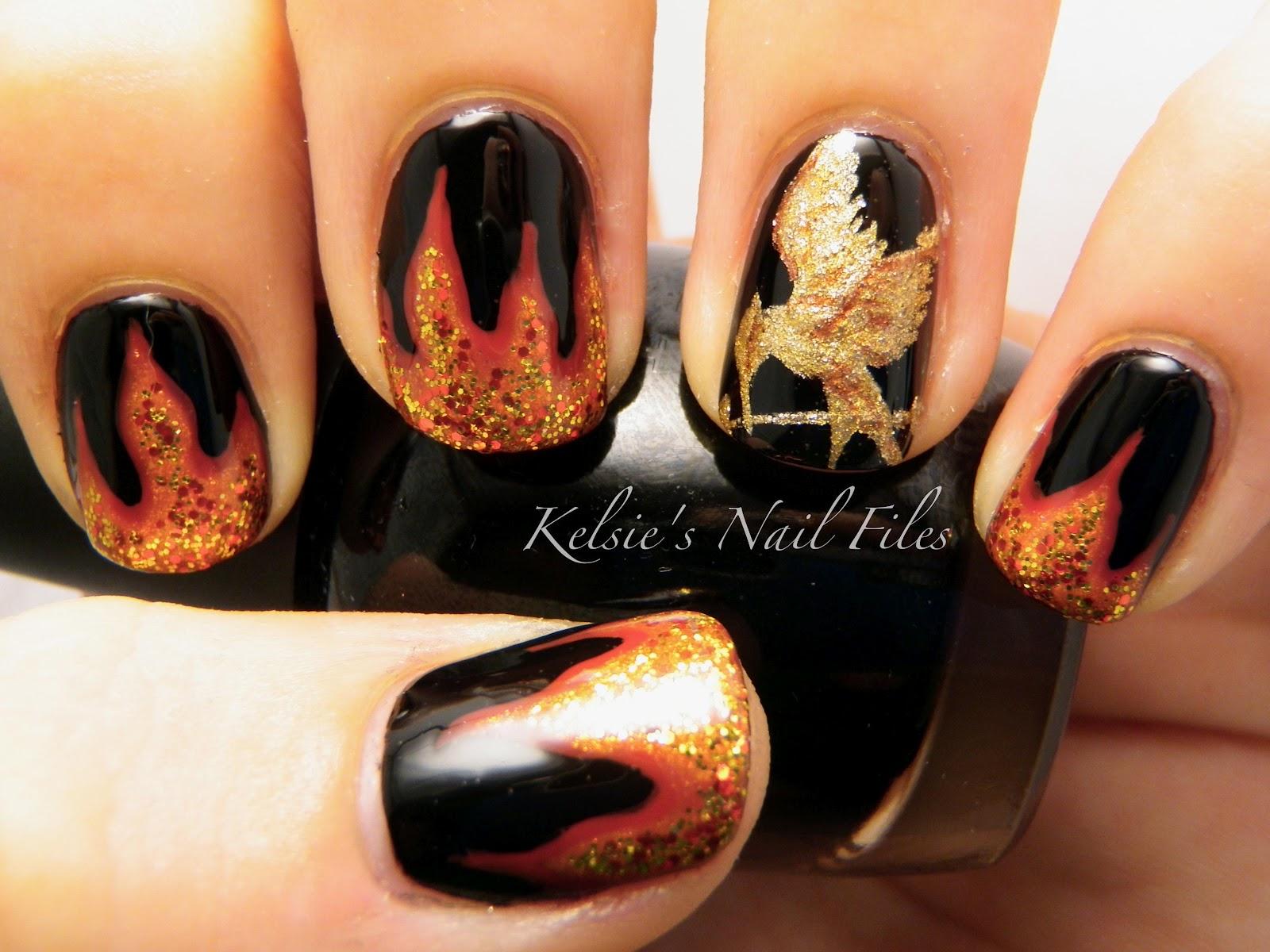 Дизайн ногтей огонь
