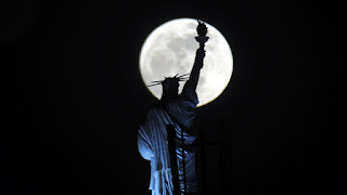 Statue of Liberty set in moonlight