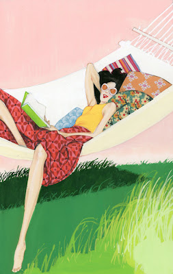 Illustration of a woman reading a book in a hammock