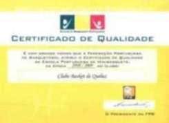 Certificado de Qualidade da escola de Minibasquete do Clube Basket de Queluz