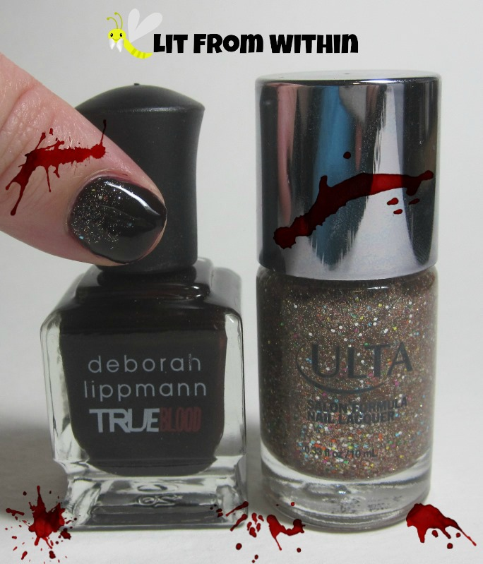 Bottle shot:  Deborah Lippmann Let It Bleed (True Blood) and Ulta Boogie Nights.