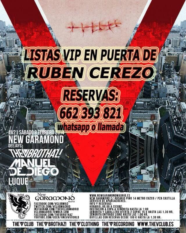 """LISTAS NEW GARAMOND SÁBADO, 8 DE FEBRERO: """"V21"""" - DJ MANUEL DE DIEGO & LUQUE"""