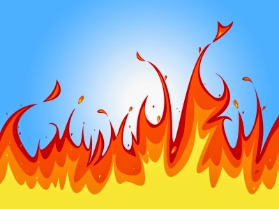 Flame against cool blue background