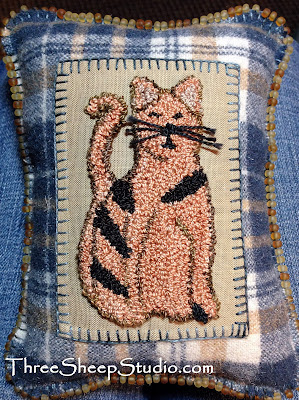 Punch Needle 'Kitty' Charm Cushion by Rose Clay at ThreeSheepStudio.com