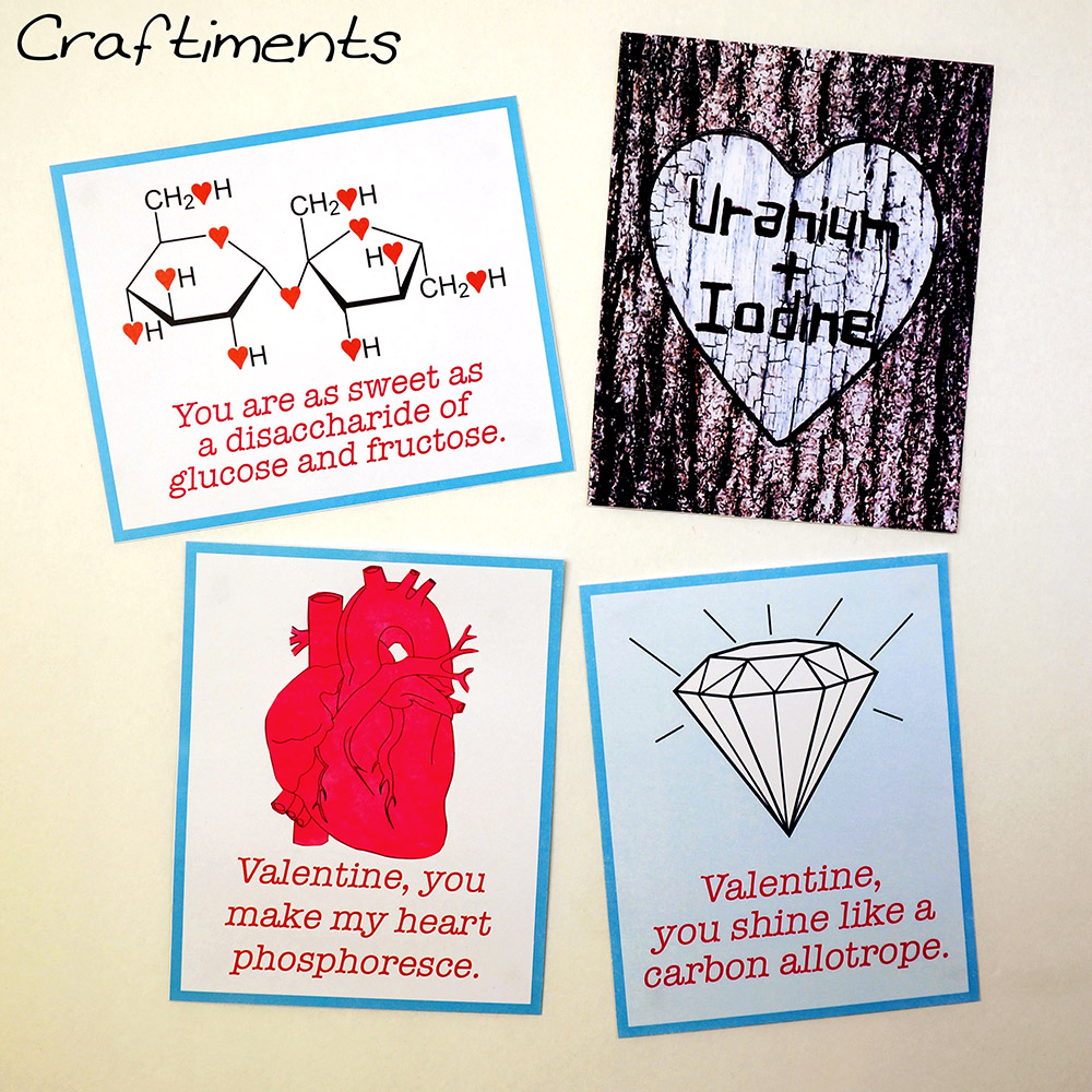 Craftiments:  Free Printable Chemistry Valentines + a List of Chemistry Love Puns
