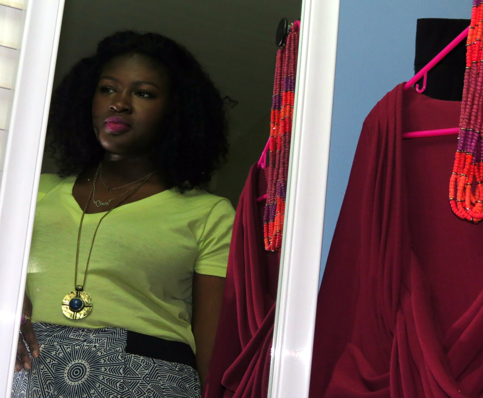NYX fuchsia lip liner, palazzo pants