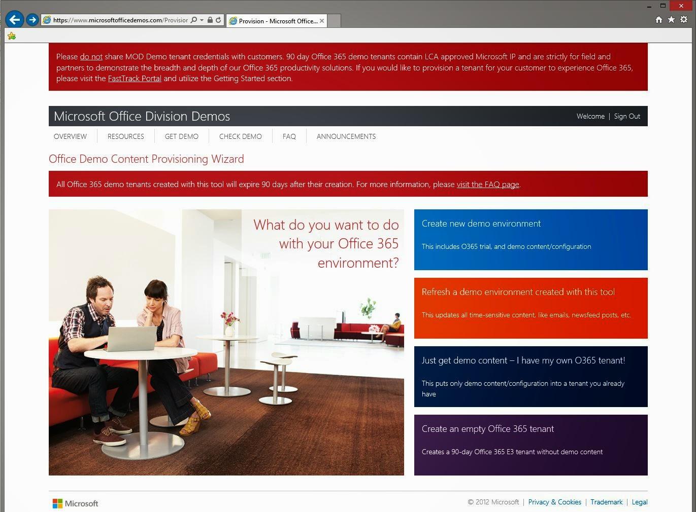 Microsoft Office Demo Tenant Options