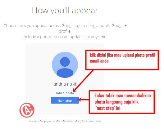 cara membuat / mendaftar email baru di gmail - upload photo profil
