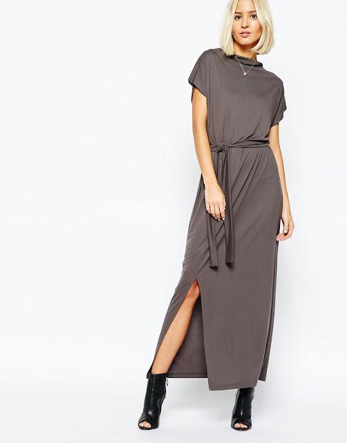 selected grey maxi dress, high neck grey maxi dress, high neck maxi dress,