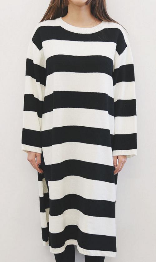 Striped Slit Side Knit Dress
