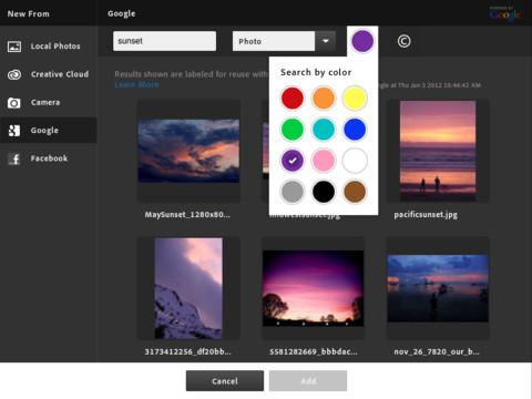 Adobe Photoshop Touch - ค้นหาภาพจากใน Google