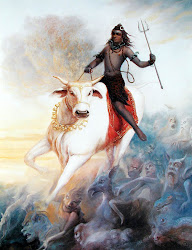 Lord Shiva riding Nandi his bull