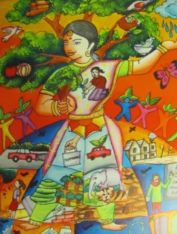 colourful painting of lady with agriultural symbols