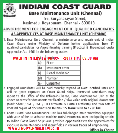 Apprentices Opportunity in Indian Coast Guard Chennai for ITI Trade Certificate holders
