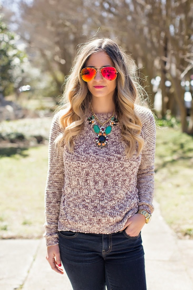 Red Mirror Aviators - Ombre Blonde Hair Color