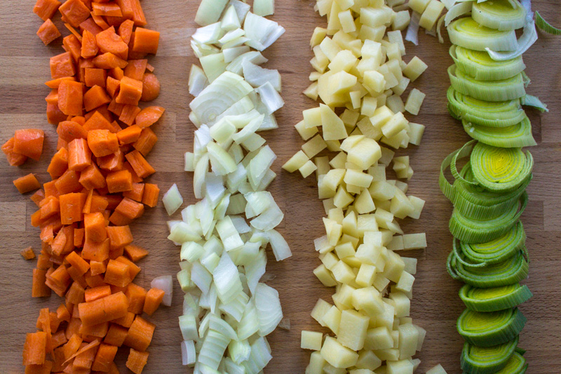 Chopped winter vegetables for chowder   Svelte Salivations
