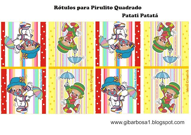 Rótulo Pirulito Personalizado Patati Patatá Lembrancinha Dia do Circo
