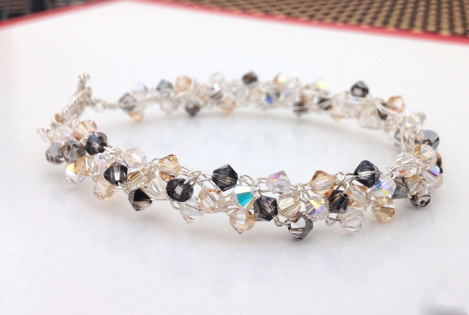 Glittery Wire Crochet Crystal Bracelet