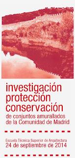 Cartel publicitario de la I Jornada de investigación, protección y conservación de conjuntos amurallados de la Comunidad de Madrid