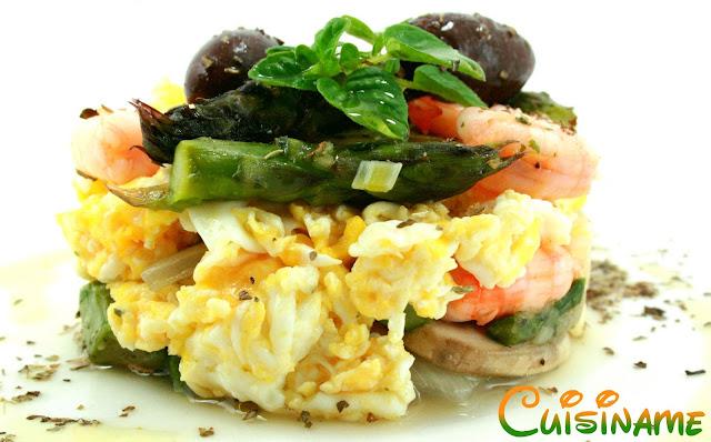 huevos revueltos, revuelto de huevos, recetas originales, huevos, gambas, revuelto con gambas, espárragos, recetas de cocina, recetas caseras, recetas fáciles, humor, curiosidades gastronómicas