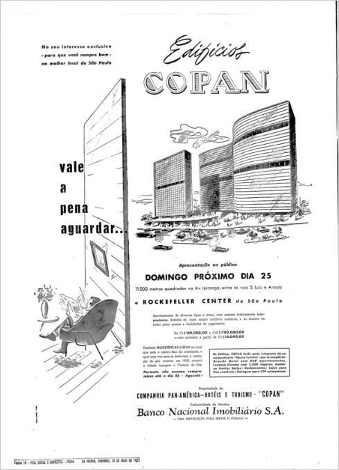 Propaganda de lançamento do projeto do Edifício Copan, nos anos 60. Campanha faz comparação com o Rockefeller Center, de Nova Iorque.