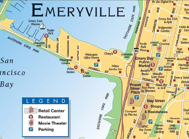 Emeryville is a small city located in northwest Alameda County, California, in the United States. It lies in a corridor between the cities of Berkeley and Oakland, extending to the shore of San Francisco Bay.