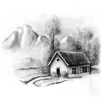 Desenhos Preto e Branco modelos de casas Colorir