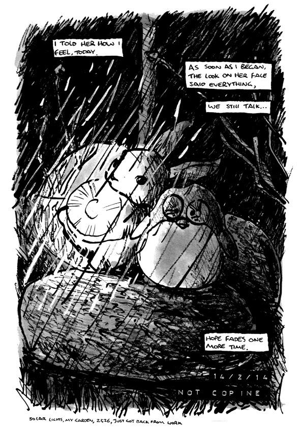 Autobiographical comic single image of two garden ornaments in the rain, metaphor for heartbreak by Alex Hahn