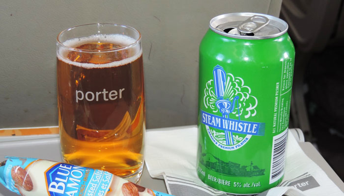Steam Whistle served on a Porter flight