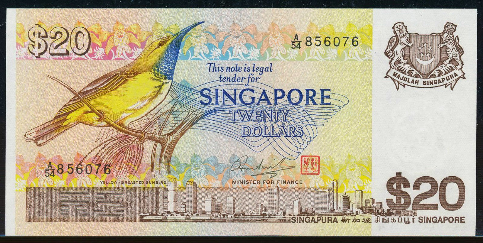 Singapore 20 Dollars banknote Bird Series