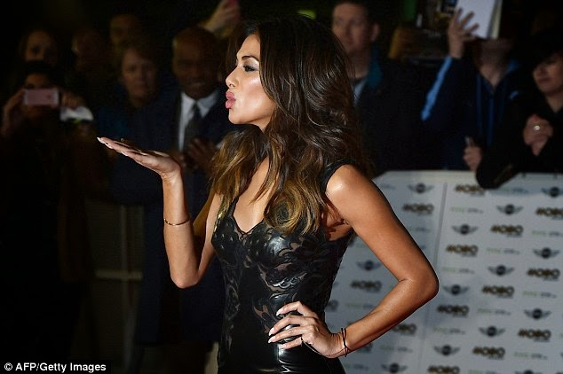 Nicole Scherzinger is glamorous in a leather dress at the 2014 MOBO Awards in London