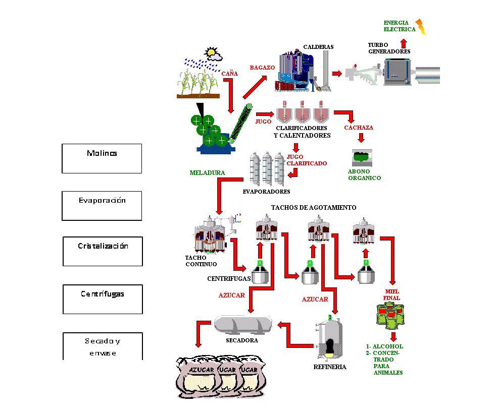 el azúcar (moreno, blanco y refino) y sus subproductos (Zaldivar, s.f