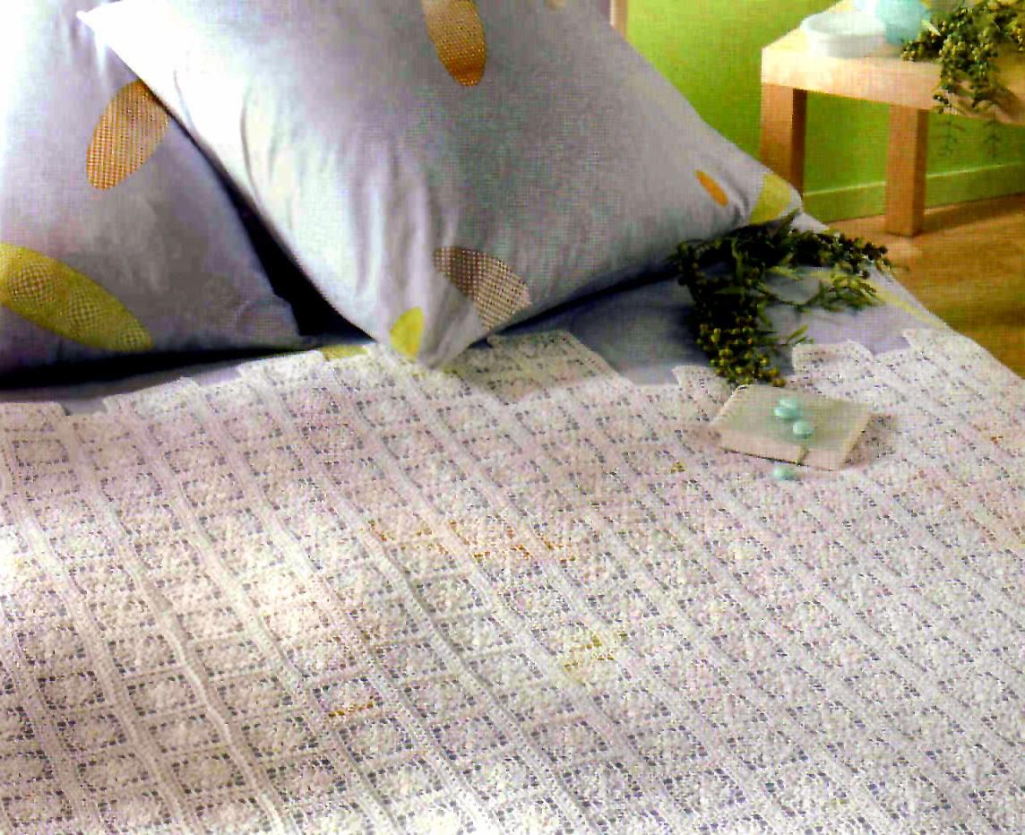 tejidos artesanales en crochet: cubrecama lecho de flores