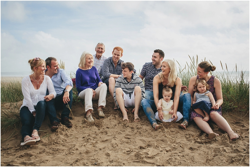 An extended family group on the sand dunes