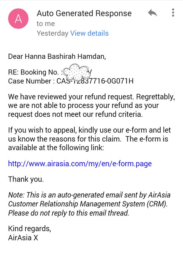ش: AirAsia Flight Reschedule (Refund/Credit Shell)