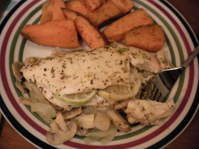 Lemon-lime chicken with baked sweet potato fries