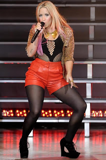 Demi Lovato Leather Shorts & Black Hose
