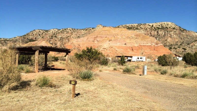 Camping i Palo Duro Canyon State Park i Texas