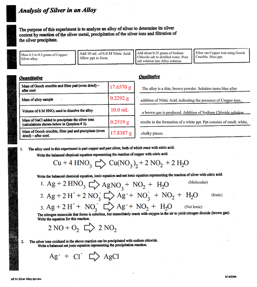 analysis of silver in an alloy Ms smith search this site current units analysis of silver in an alloy purpose: to determine the percent composition of silver in a common household alloy.