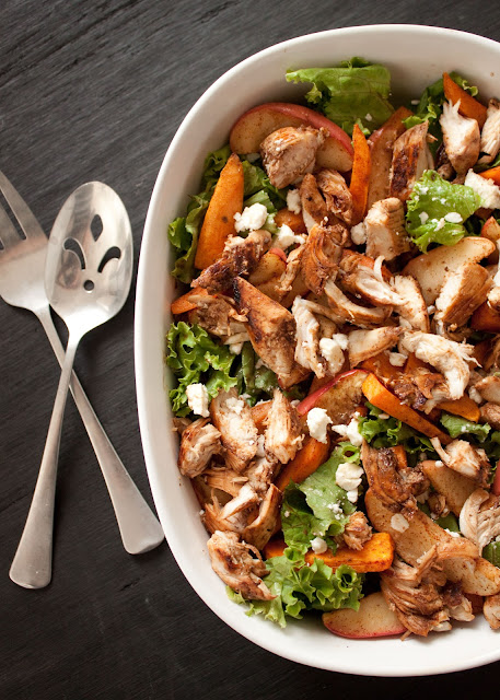 ... roasted sweet potato and apple salad with caramel vinaigrette chicken