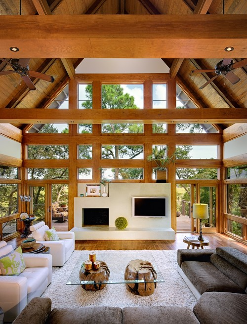 Modern contemporary living room in Tree House by Anderson Studio Of Architecture And Design