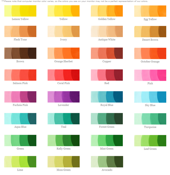 wilton coloring chart