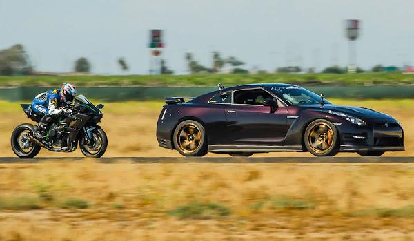 Kawasaki H2R ile Nissan GT-R Drag Yarışı