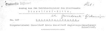Auszug aus dem Heiratsregister Standesamt Düsseldorf-Mitte