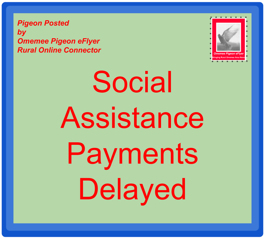 image Omemee News- Social Assistance Payments Delayed posted on Omemee Pigeon eFlyer envelope with stamp