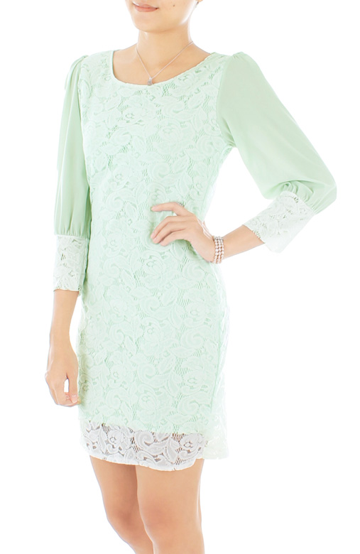 Infinite Sky Lace Dress in Mint
