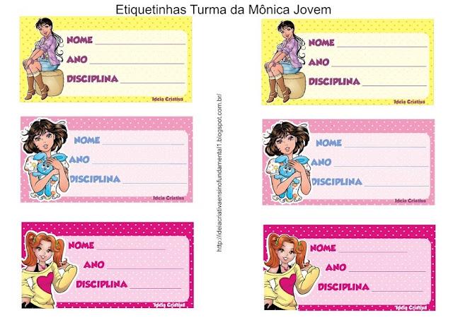 Etiquetas para caderno Turma da Mônica Jovem Meninas